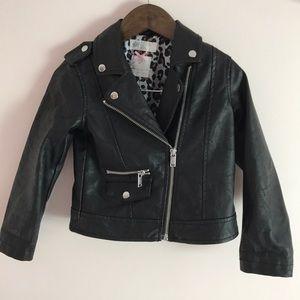 H&m little girls faux leather jacket size 3-4Y